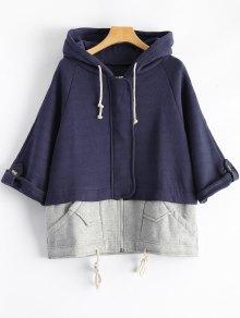 Plus Size Spliced Zip Up Hoodie - Deep Blue 4xl