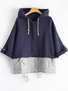 Plus Size Spliced Zip Up Hoodie