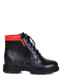 Buy Increased Internal Platform Color Spliced Ankle Boots 38 BLACK