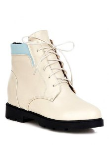 Buy Increased Internal Platform Color Spliced Ankle Boots 38 OFF WHITE