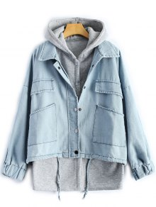 Hooded Waistcoat With Jean Jacket - Light Blue Xl