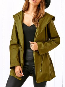Drawstring Hooded Military Jacket