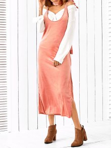Side Furcal Slip Dress With Scarf