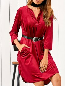V Neck Pockets Belted Midi Dress - Rouge