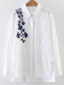Embroidered Shoulder Poplin Shirt - White