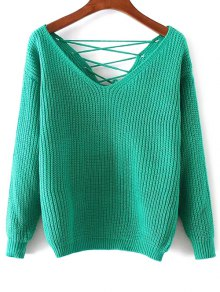 Double-V Lace-Up Sweater