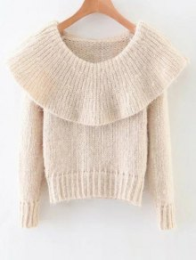 Fluffy Overlayed Sweater - Off-white