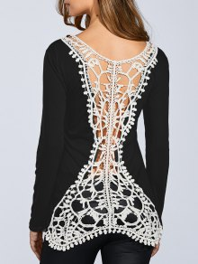 Hook Flower Spliced Long Sleeve T-Shirt - Black L