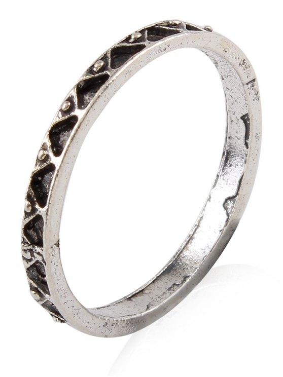 Burnished Geometric Ring Set - SILVER  Mobile