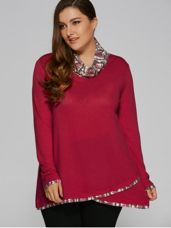 Overlay Cowl Neck Plus Size Blouse - DEEP RED 2XL Mobile