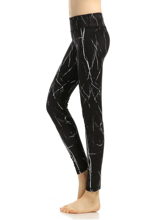 Slimming Printed Stretchy Gym Pants - BLACK L Mobile