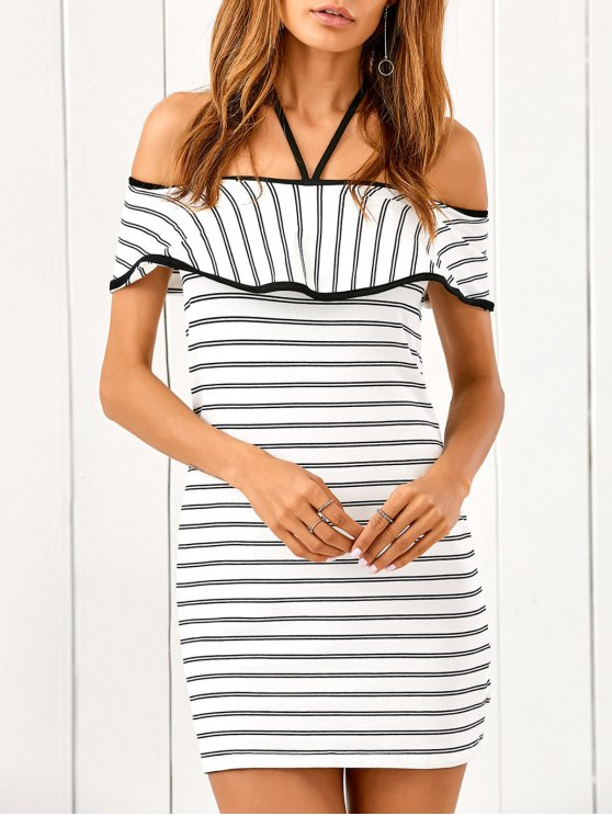 ladies Flounced Striped Bodycon Dress - STRIPE M
