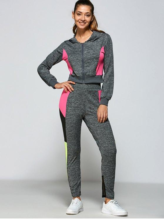 Bloque de color sudadera con capucha y pantalones - Gris S