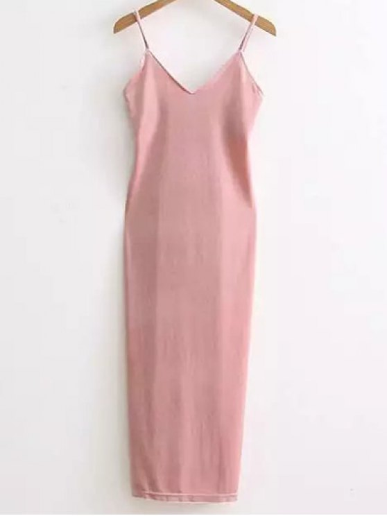 outfit Side Furcal Velour Slip Dress - PINK ONE SIZE