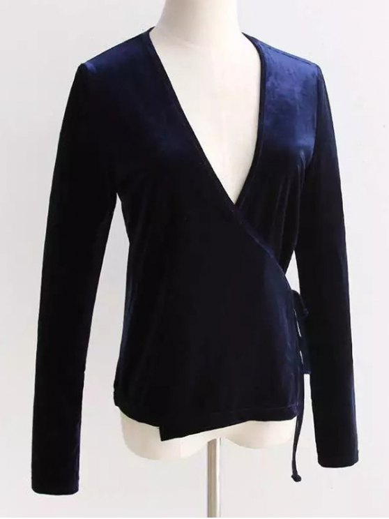 Velour Wrap Top - CADETBLUE ONE SIZE Mobile