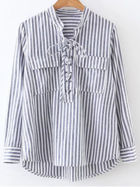 women Striped Lace Up Shirt - STRIPE M