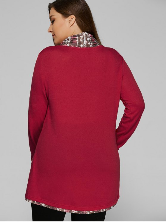 Overlay Cowl Neck Plus Size Blouse - DEEP RED 3XL Mobile