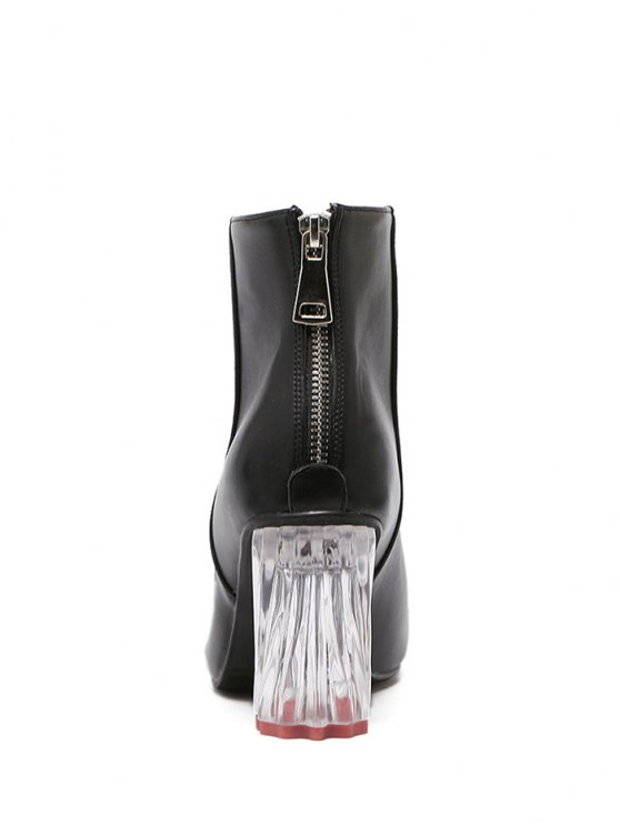 PU Leather Chunky Heel Ankle Boots - BLACK 39 Mobile
