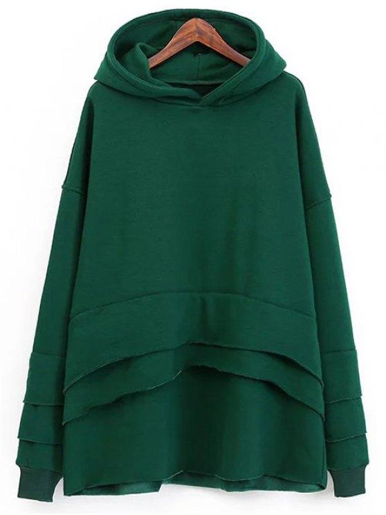 Pull-over en laine à capuche et à effet superposé - Vert TAILLE MOYENNE