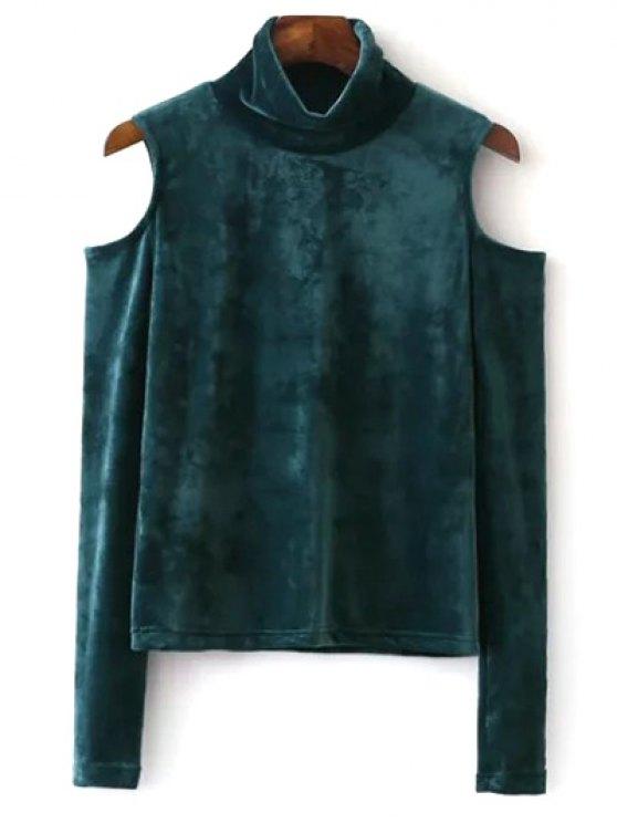 women's High Neck Cold Shoulder Velour T-Shirt - GREEN M