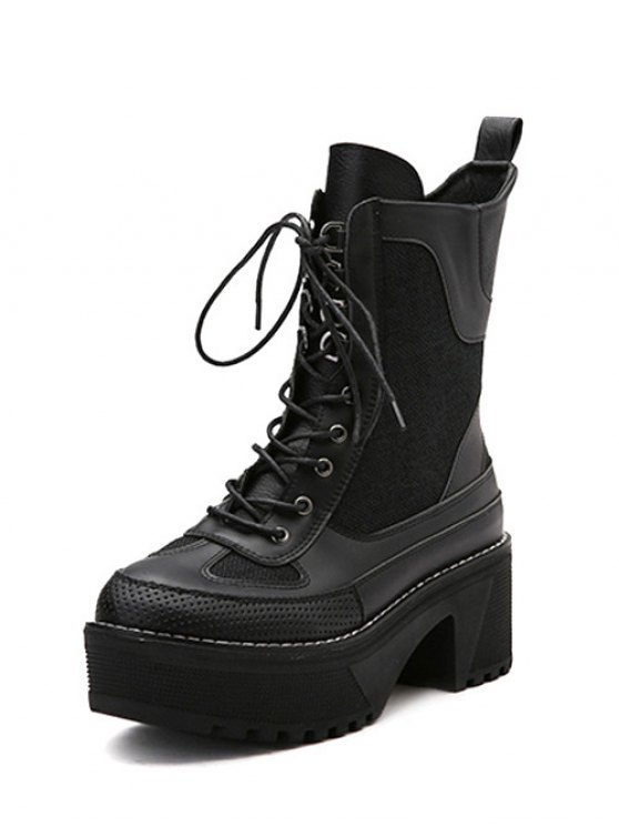 Splicing Platform Lace-Up Combat Boots - BLACK 38 Mobile