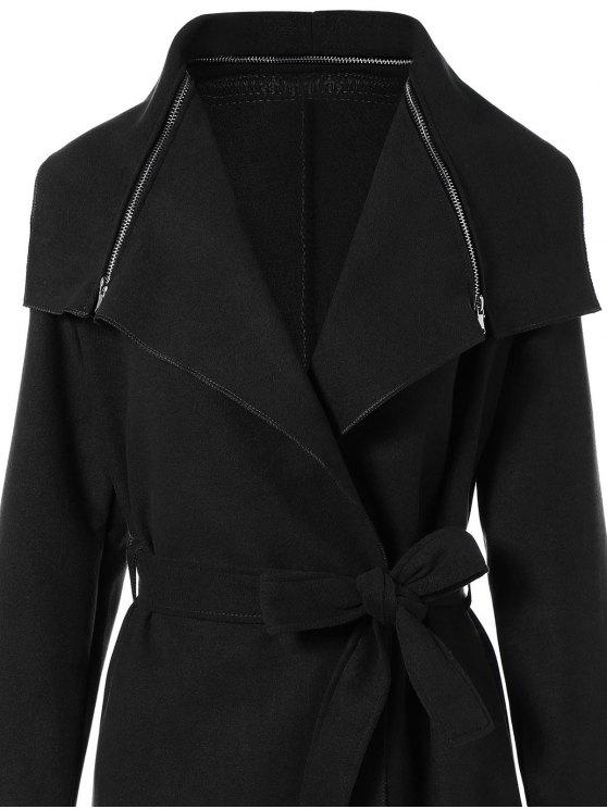 Shawl Belted Wool Blend Wrap Coat - BLACK M Mobile