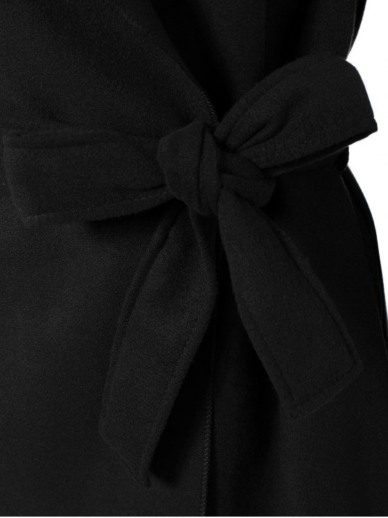 Shawl Belted Wool Blend Wrap Coat - BLACK L Mobile