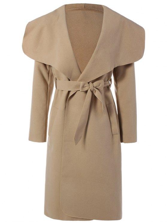 womens Shawl Lapel Belted Wrap Coat - KHAKI L