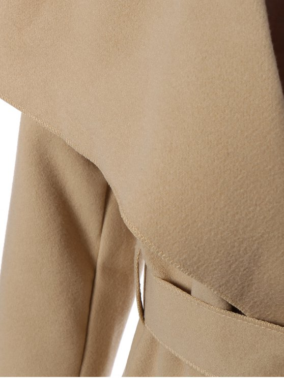 Shawl Lapel Belted Wrap Coat - KHAKI 2XL Mobile