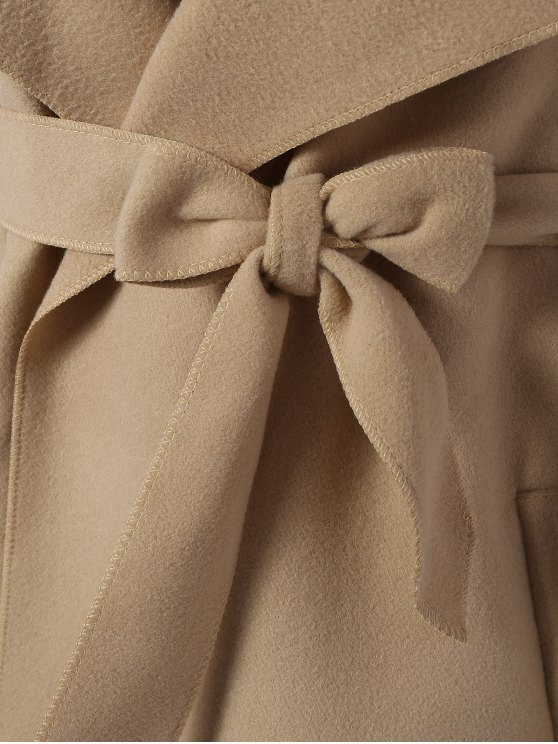 Shawl Lapel Belted Wrap Coat - KHAKI L Mobile