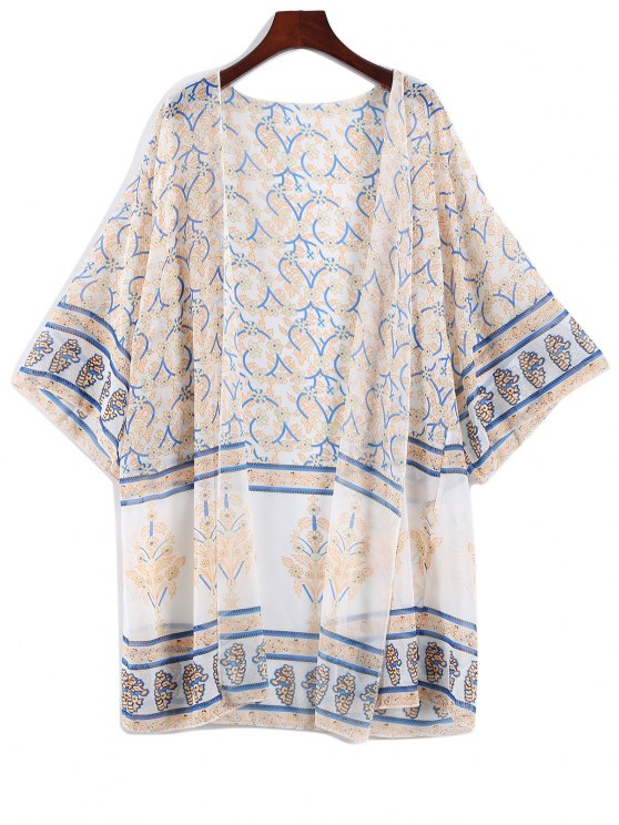 Printed Bohemian Chiffon Cover Up - APRICOT ONE SIZE Mobile