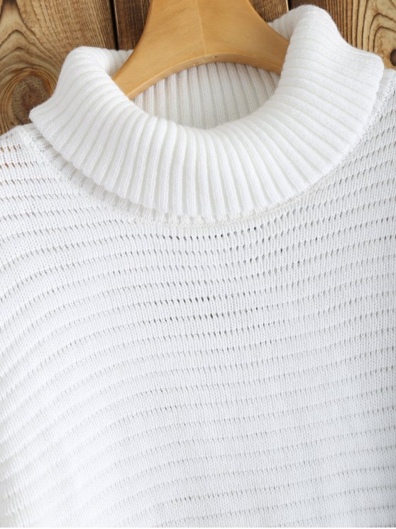 Side Furcal Turtle Neck Sweater Dress - WHITE L Mobile