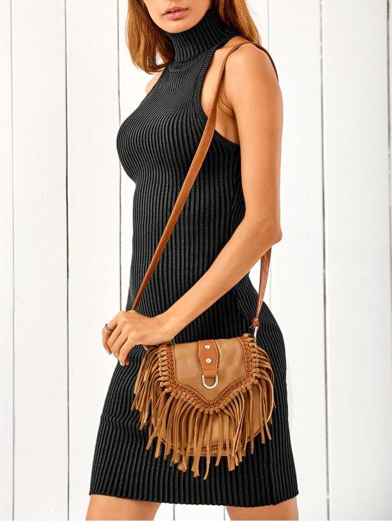 shops Crisscross Back Sleeveless Sweater Dress - BLACK ONE SIZE