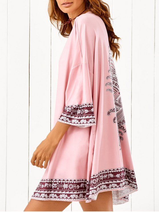 Printed Beach Cover Up - PINK ONE SIZE Mobile