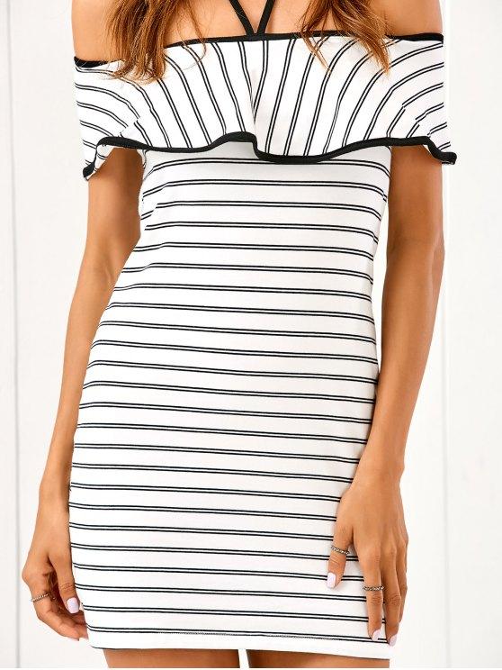 Flounced Striped Bodycon Dress - STRIPE M Mobile