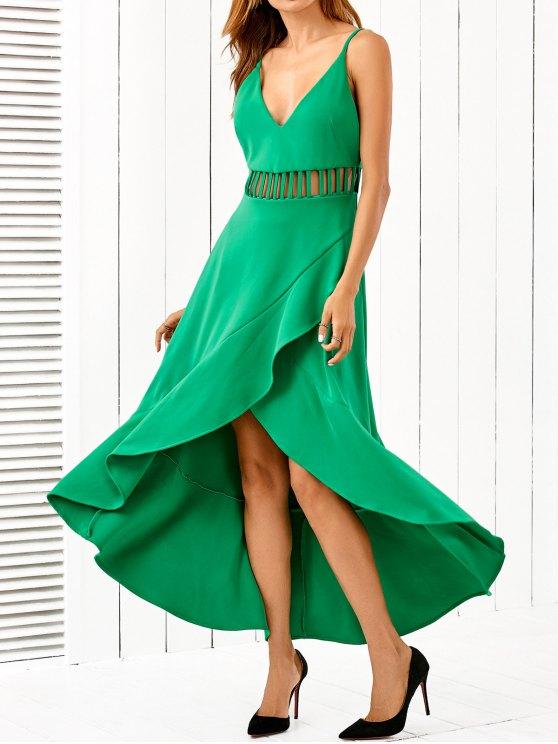 Low Cut Asymmetric Dress - GREEN L Mobile
