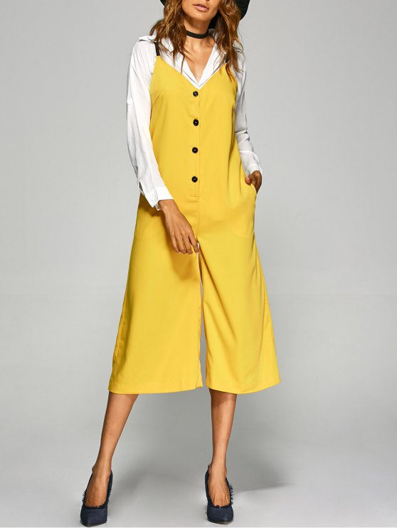shops Buttoned Wide Leg Jumpsuit - YELLOW M