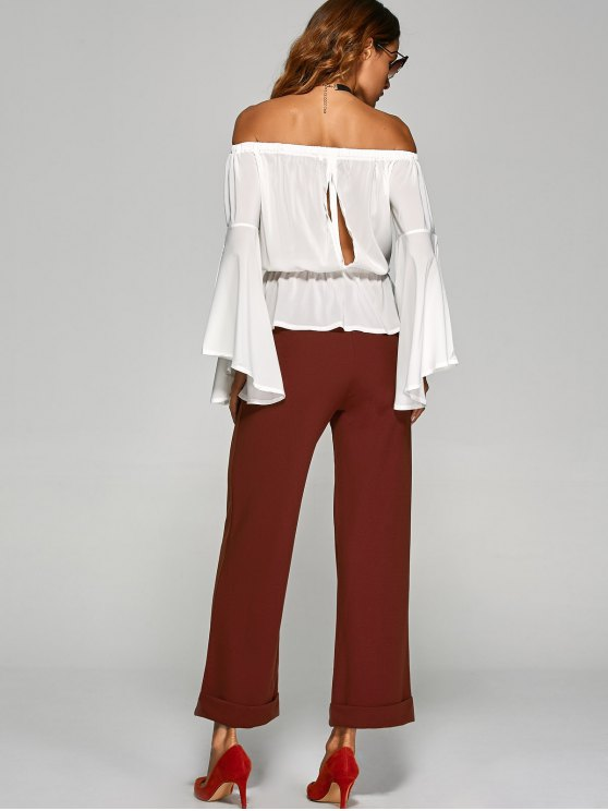 Turnup Wide Leg Pants - WINE RED L Mobile