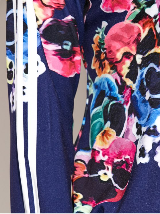 Flower Printed Zipper Up Top+Pants - DEEP BLUE S Mobile