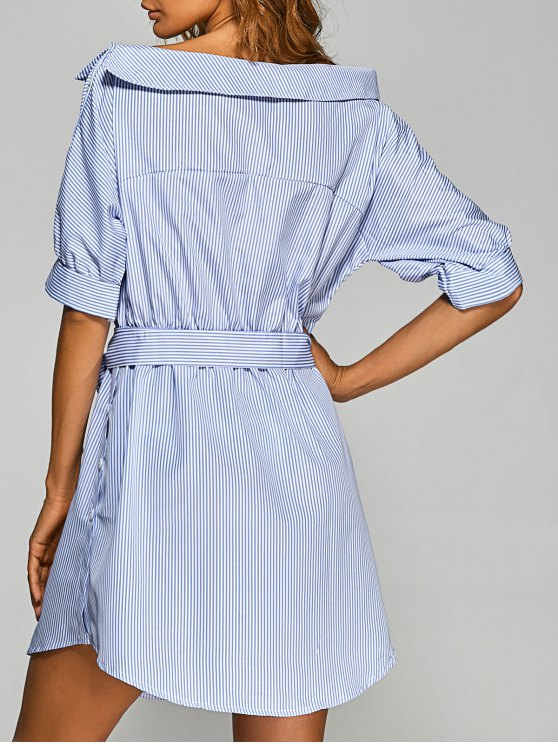 Striped Asymmetric Neckline Belted Dress - BLUE AND WHITE S Mobile