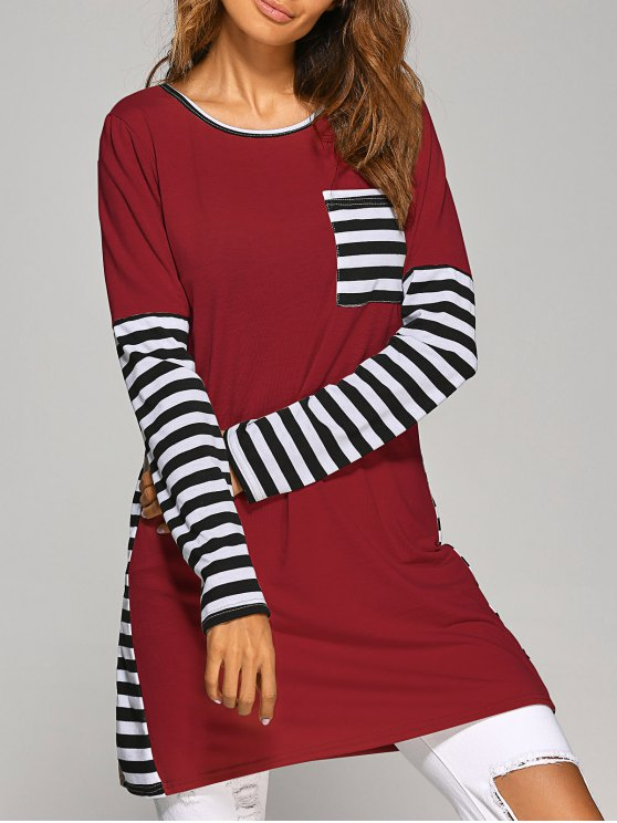 womens Contrasting Stripe Long Sleeve T-Shirt Dress - WINE RED M