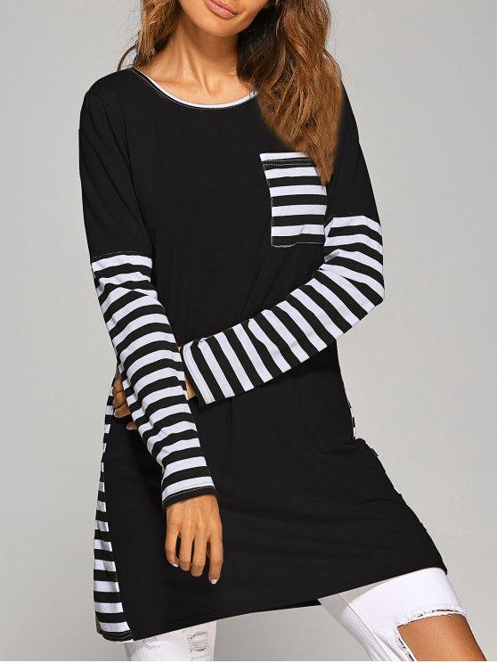 Manga de la raya de contraste Camiseta larga de vestir - Negro L