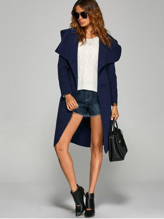 Shawl Lapel Belted Wrap Coat - PURPLISH BLUE XL Mobile