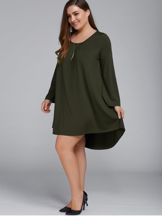Plus Size Lace Up Flare Sleeves Dress - OLIVE GREEN 2XL Mobile