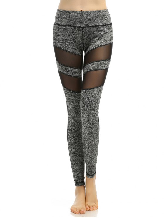 Heathered Stretchy Mesh-Insert Pants - GRAY S Mobile