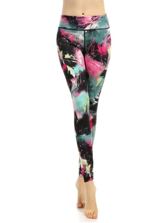 latest Stretchy Multicolor Printed Leggings - COLORMIX XL