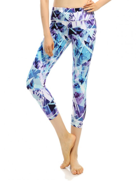 Sporty Stretchy Printed Cropped Leggings - BLUISH VIOLET M Mobile