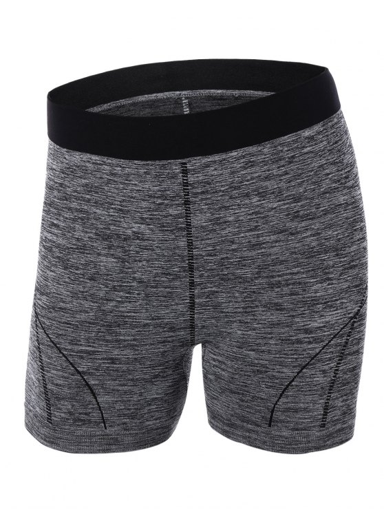 women's Sporty Color Block Yoga Shorts - GRAY L
