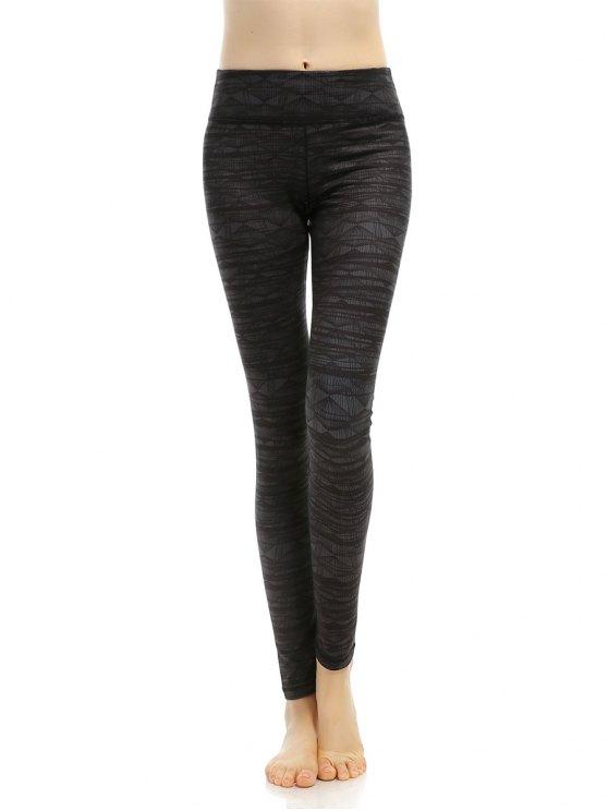 Geometric Stretchy Print Leggings - Gris Noir M