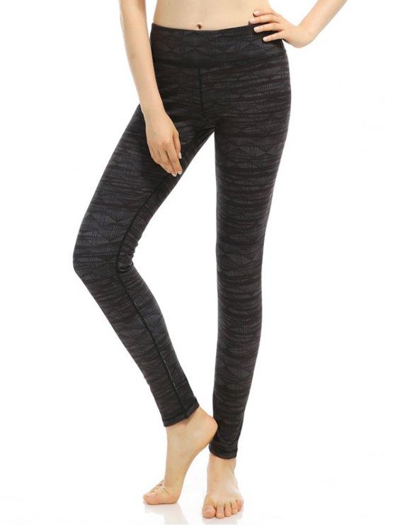 Geometric Stretchy Print Leggings - BLACK GREY M Mobile